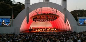 "Gustavo Dudamel leads the LA Philharmonic Orchestra as it collectively plays Leonard Bernstein's ""West Side Story"" music. Photo courtesy of Hollywood Bowl"