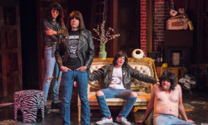 "(Left to Right) Matthew Patrick Davis (Joey Ramone), Johnathan McClain (Johnny Ramone), Michael Daniel Cassady (Dee Dee Ramone) and James Pumphrey (Marky Ramone) in ""Four Chords and a Gun"" at the Bootleg Theater. Photo credit: Kim Zsebe"