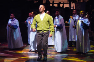 "Thomas Hobson (Sam Cooke) front and center during ""Jesus Gave Me Water."" Photo credit: Ed Krieger"