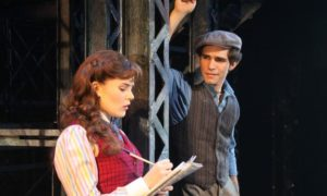 "Morgan Keene (Katherine) and Joey Barreiro (Jack Kelly) in Disney's ""Newsies,"" the Musical. Photo courtesy of Shane Gutierrez and Disney"