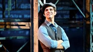 "Joey Barreiro is captivating as the courageous Jack Kelly in Disney's ""Newsies."" Photo credit: Disney"