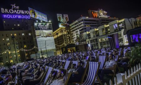 Attendees enjoy a film on the rooftop of The Ricardo Montalbán Theatre in Hollywood, CA. Photo credit: Rooftop Cinema Club