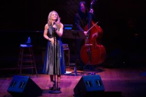 Kelli O'Hara and her bassist, Peter Donovan. Not pictured are her pianist, Dan Lipton, and drummer, Gene Lewin. Photo courtesy of the Boston Globe