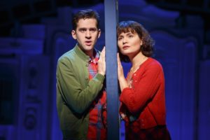 "(L-R) Adam Chanler-Berat as Nino and Phillipa Soo as Amélie in ""Amélie, A New Musical"" at the Ahmanson Theatre in Los Angeles. Photo credit: Joan Marcus"