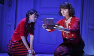 """(L-R) Savvy Crawford and Phillipa Soo as the young and older title character in """"Amélie, A New Musical,"""" which will play through January 15th at the Ahmanson Theatre in Los Angeles. Photo credit: Joan Marcus"""