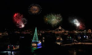 The 108th annual Newport Beach Christmas Parade, which runs through December 18th, kicked off with a memorable opening night ceremony on December 14th at the Balboa Bay Resort. Photo credit: christmasboatparade.com