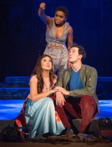 "(L-R) Ashley Park, Alyse Rockett (standing) and Conor Guzmán in The Pasadena Playhouse production of ""The Fantasticks."" Photo Credit: Jim Cox"