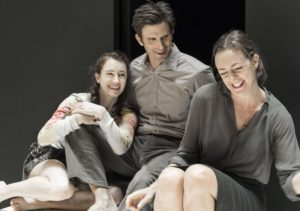 "(L-R) Catherine Combs, Frederick Weller, and Andrus Nichols in Arthur Miller's ""A View from the Bridge,"" directed by Ivo Van Hove. Photo credit: Jan Versweyveld"