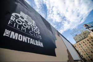 The emblem of the Rooftop Cinema Club at The Montalbán Theatre in Hollywood, CA. Photo credit: Rooftop Cinema Club