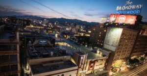 An aerial view of a film being played on the rooftop of The Ricardo Montalbán Theatre in Hollywood, CA. Photo credit: Rooftop Cinema Club