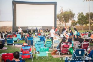 An example of a film screening at the Syd Kronenthal Park in Culver City, CA. Photo credit: Street Food Cinema