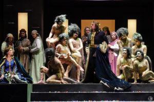 "Ekaterina Semenchuk (Lady Macbeth) and Plácido Domingo (Macbeth) among the prophesying witches in Giuseppe Verdi's ""Macbeth."" Photo credit: Karen Almond and LA Opera"