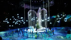 "Glowing Woodsprites surround the Tree of Souls in Cirque du Soleil's ""Toruk - The First Flight."""