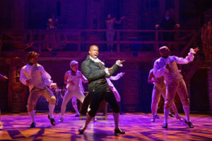 """A still of Leslie Odom, Jr. performing in """"Hamilton"""" as Aaron Burr at the Richard Rodgers Theatre in New York. His last performance was on July 9th, 2016. Photo credit: Sara Krulwich"""