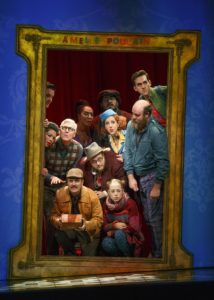 """The cast of """"Amélie, A New Musical"""" during the opening scene at the Ahmanson Theatre in Los Angeles. Photo credit: Joan Marcus"""