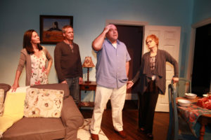 """(L-R) Monica Young, Matt Harrison, Michael Dempsey, and Jacee Jule in """"The Marriage Zone"""" at the Santa Monica Playhouse. Photo credit: Joel Berti"""