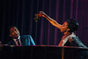 "Dulé Hill as Nat ""King"" Cole and Gisela Adisa as Eartha Kit in the West Coast premiere of ""Lights Out: Nat 'King' Cole"" at the Geffen Playhouse. Photo by Jeff Lorch"