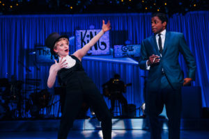 "Ruby Lewis as Betty Hutton and Dulé Hill as Nat ""King"" Cole in the West Coast premiere of ""Lights Out: Nat 'King' Cole"" at the Geffen Playhouse. Photo by Jeff Lorch"