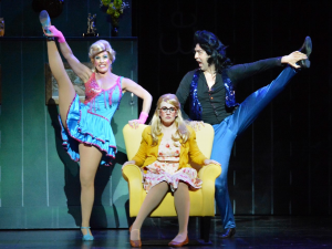 """Janna Cardia, Katie DeShan and John Paul-Batista in 5-Star Theatrical's """"Matilda the Musical"""" at the Kavli Theatre in Thousand Oaks, CA. Photo credit: Ed Krieger"""