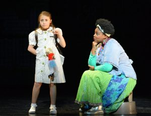 """Lucy Bollier and Deanna Anthony star in 5-Star Theatricals' """"Matilda the Musical"""" at the Kavli Theatre in Thousand Oaks, CA. Photo credit: Ed Krieger"""